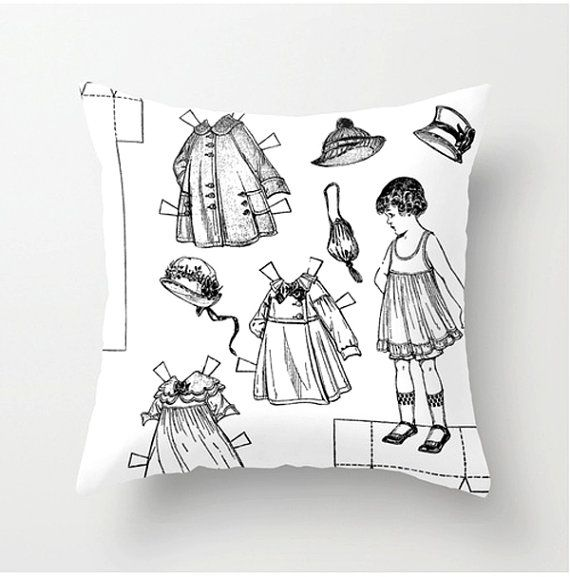Vintage Paper Dolls decorative throw pillow fun by BonnieBruno, $35.00