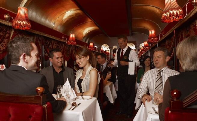 """The Melbourne Colonial Tramcar Restaurant has to be the best """"meals on wheels"""" service ever. I prefer """"perambulant luxury dining"""" - it just sounds classier!  http://www.giftitnow.com.au/melbourne/experiences/the-colonial-tramcar-restaurant"""