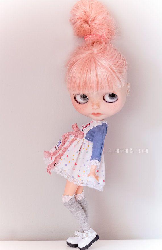 Cap sleeve dress for Blythe doll / dress sleeve by ElRoperoDeCharo