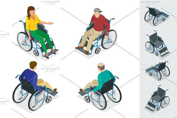 Wheelchair isolated. Man in Wheelchair. Flat 3d isometric vector  @creativework247