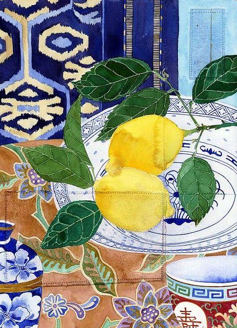 Lemons still life Watercolour and pencil on sewn paper 24cm x 39cm Sydney 2011