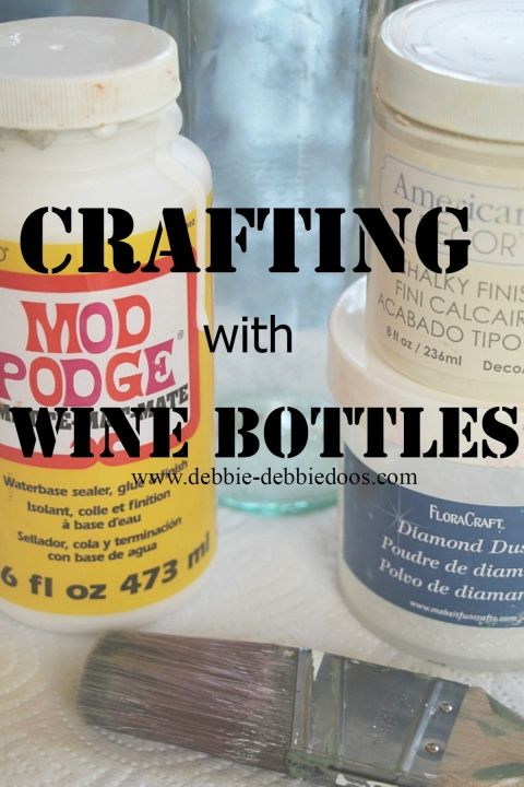 Crafting with wine bottles recycle save the earth. #debbiedoos