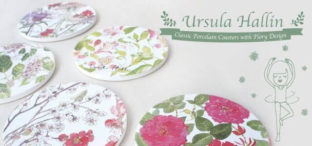 Best Gift set -4 Classic Porcelain Coasters with Flowery Design for £24