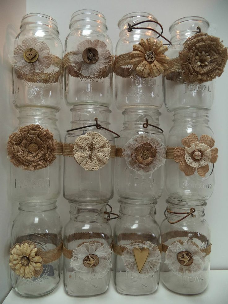 12 Mason Jar Wedding 50th Anniversary Gold Decorations Shabby Country Chic Set 1