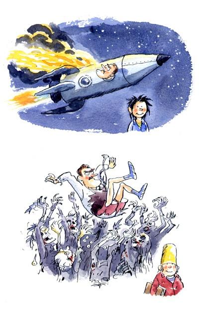 Prachtig gekleurde illustraties in Bert en Bart en de Zoen van de Zombie (Tjibbe Veldkamp & Kees de Boer)
