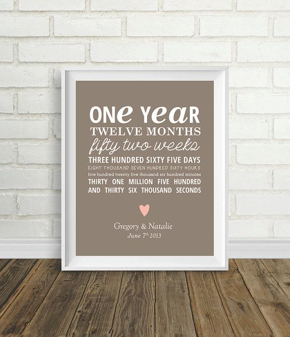 One year anniversary by pelletiercreative on etsy for Gift ideas for 1 year wedding anniversary
