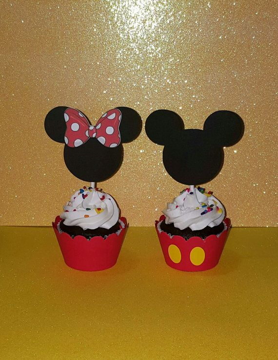 12 Mickey Cupcake Toppers  Minnie Cupcake by PishPoshPartique