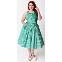 Unique Vintage Plus Size 1950s Style Green & White Stripe Hamilton Swing Dress - Plus Size - Dresses - Clothing  | Unique Vintage