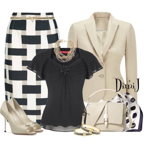 Really like this whole ensemble--the blouse isn't something I see too often but the style would look great on me.  Pairing of the patterns and colors is very chic.  Love the shoes too even though the peep toe may not work for me comfort-wise.