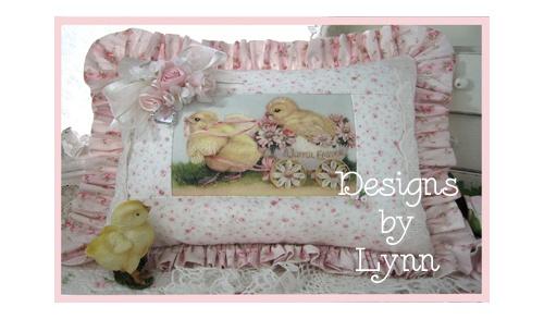 Easter Chicks & Pink Roses Ruffled Pillow 5066 Original Designs By Lynn-pink, roses, shabby, chic, ruffles, Victorian, Vintage, Lynn, Barkcloth, PINK,