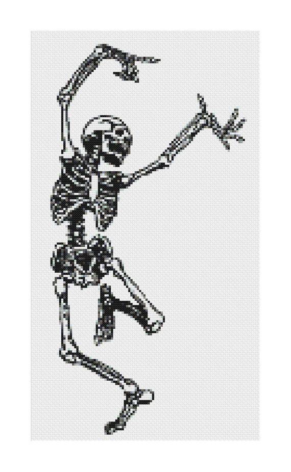 Dancing Skeleton cross stitch pattern - old anatomy illustration [PDF] INSTANT…
