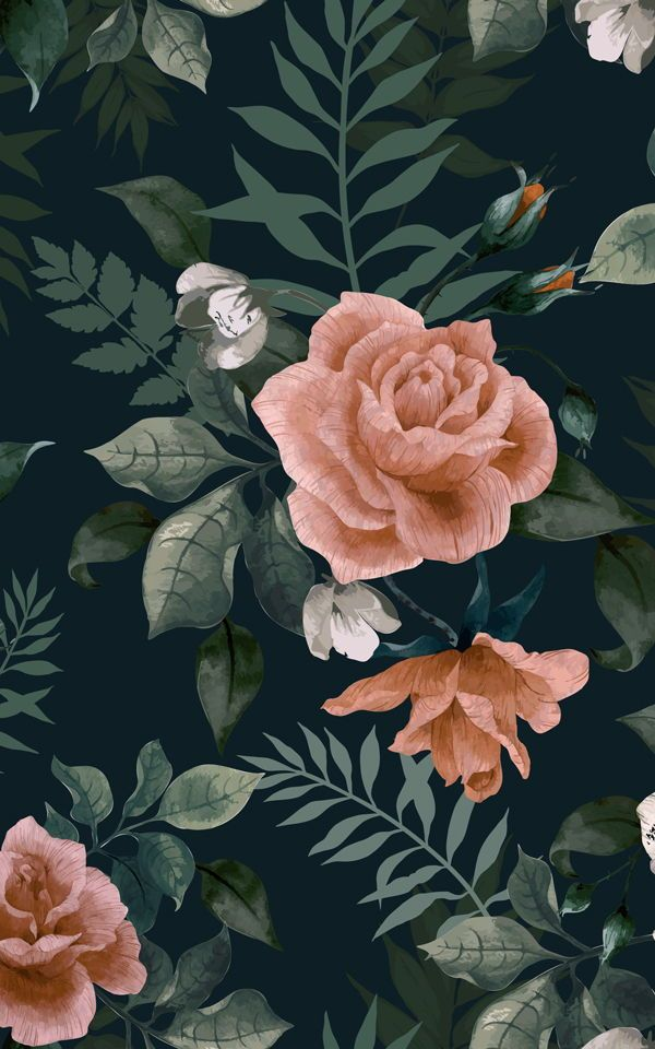 Dark Green And Pink Floral Wall Mural Floral Wallpaper Green
