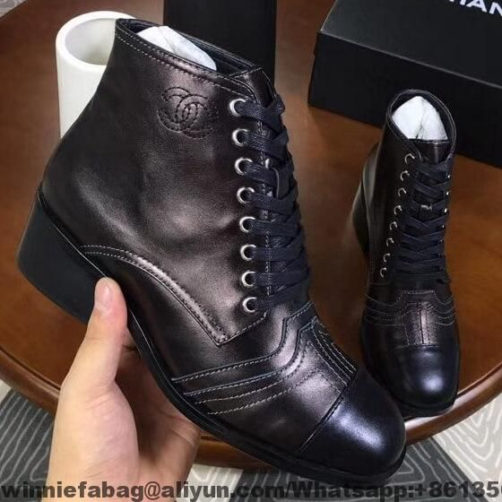 ba42b12563d1 Chanel Lace-ups Ankle Boots G33855 2018 | Shoes | Chanel boots ...