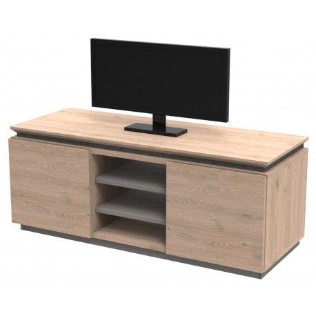 Meuble tv hifi 2 portes ekola gris meuble tv contemporain en ch ne pinter - Fabriquer meuble hifi ...