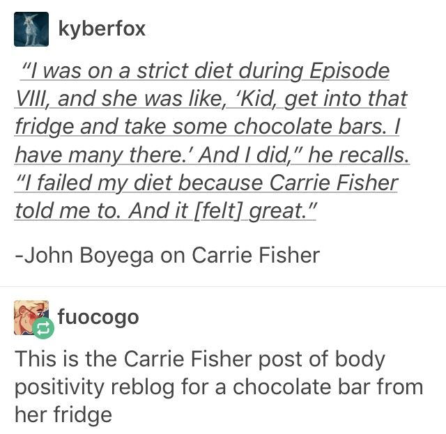 Carrie Fisher, Space Mom to all