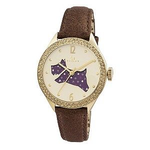 Radley Ladies' Spotted Dog Tan Leather Strap watch