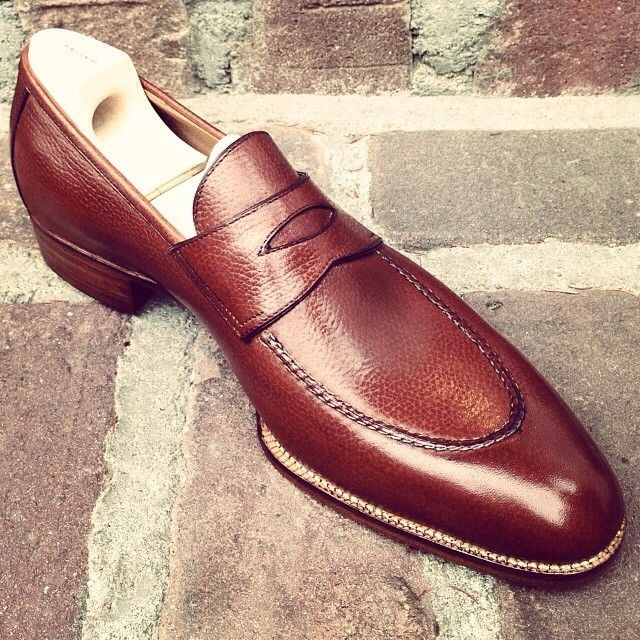 Embossed calf leather penny loafer from @saintcrispins