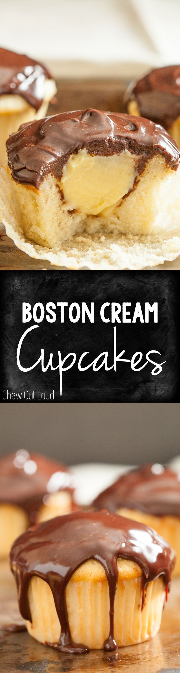 Boston Cream Cupcakes! Tender soft cakes filled with golden custard and topped with fugdy chocolate ganache. Irresistible!
