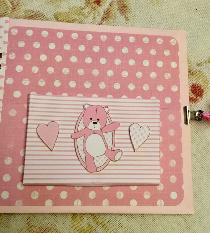 Album page with pocket from the Stamperia Baby Bears Girl paper