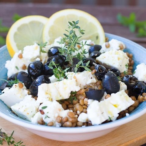 #čočka #salát #sýr #feta #olivy #maca