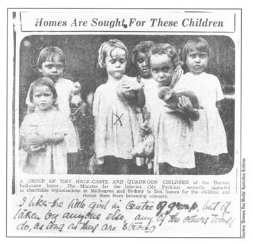 A photo that makes you cry. Published in a Darwin newspaper in the 1930s this picture signifies the suffering caused by the inherent racism of the Australian government's Aboriginal assimilation policies. The presents the children are holding were most likely only provided for the sake of the photograph.
