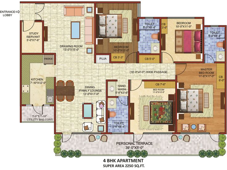 Planos de casas con 3 dormitorios y dos ba os de una for Habitaciones 3d gratis