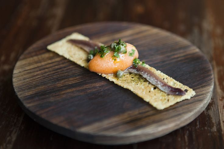 The classic MoVida dish: The Anchoa with smoked tomato sorbet by Jazmine Thom.