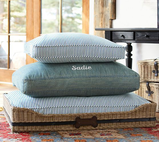 rattan and ticking stripe dog beds for Z