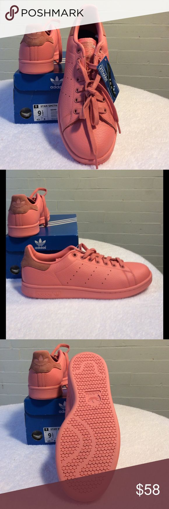 """Adidas Stan Smith pink leather court shoes Pink court shoes with light brown accent at heel and tongue.  """"Adidas"""" sign and """"Stan Smith"""" on top of heel.  Adidas is written out on tongue with the classic Stan Smith image. Pink sole.  Unisex Adidas sizing 9.5 men's, 10.5 women's Adidas Shoes Athletic Shoes"""
