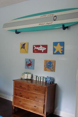 Surf Room - hang the board as art...LOVE this surf board!!!!  The colors are awesome!!!