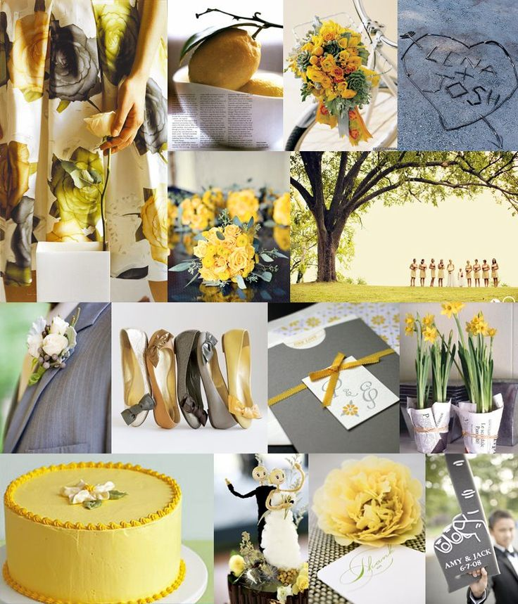 #293 Lemon and Gray: Colors Trends, Grey Wedding, Gray Wedding, Yellow Wedding, Wedding Colors Schemes, Colors Palettes, Wedding Theme, Lemon Yellow, Colour Schemes