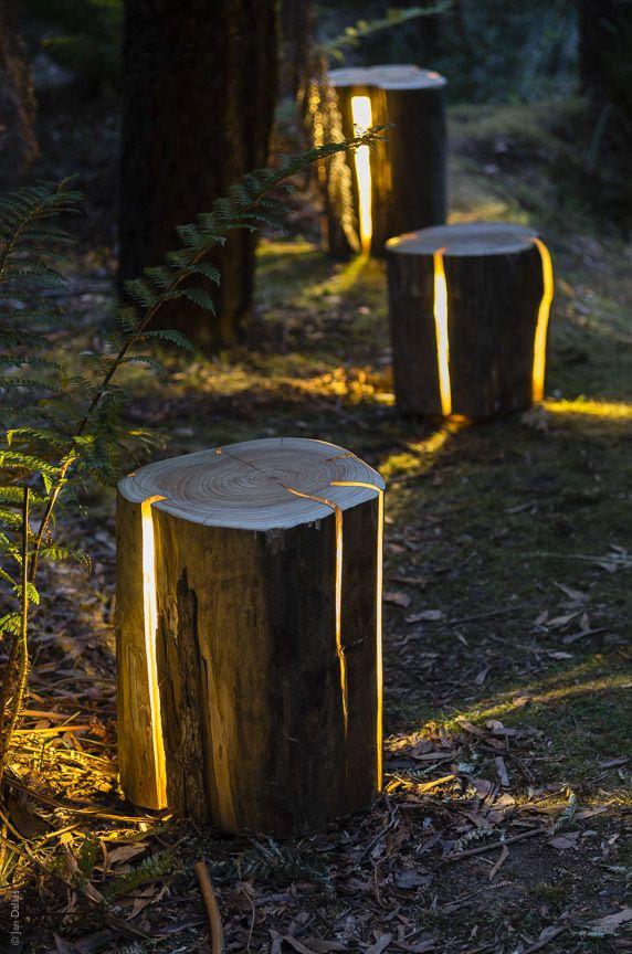 Toras de madeira iluminadas no jardim