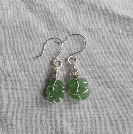 Genuine Irish sea glass earrings green . made in by terramor