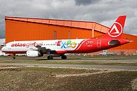 AtlasGlobal (TR) Airbus A321-131 TC-ETN aircraft, painted in ''EXPO 2016 Antalya'' special colours Jan 2016, skating at England Luton International Airport. 30/03/2016.