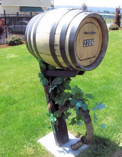 This Wine Barrel Mailbox Is Pretty Unique And Well Done Diy Mailbox Mailbox Unique Mailboxes