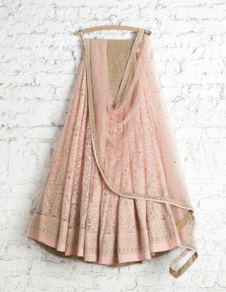 SwatiManish Lehengas SMF LEH 172 17 Princess pink white threadwork lehenga with badla dupatta and anmol sequin blouse