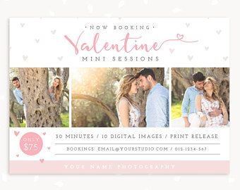 Valentine Mini Session Template, Valentine Marketing Board, Valentine's Day Photoshop Template, Photography Marketing, Romantic mini session #ad #oybpinners