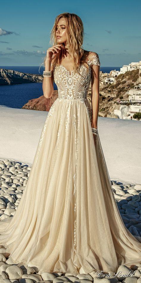 Eva Lendel 2017 bridal cap sleeves sweetheart neckline heavily embellished bodice romantic ivory color a line wedding dress lace back chapel train (cameron) mv #wedding #bridal #weddingdress