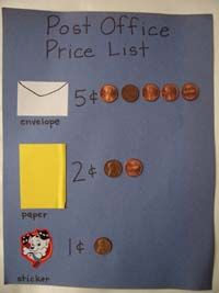 This simple example of how much an envelope, stamp and paper would cost would be a great way to introduce the community helper, the post man, and tie in math and how to count out in pennies how much each item costs.