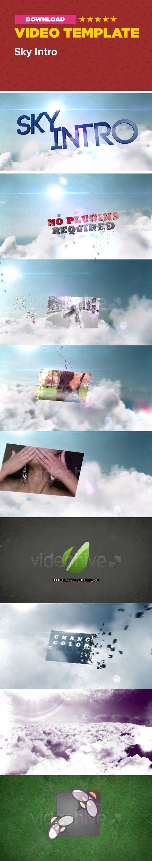 3d, beam, blue, cloud, expanse, flash, heaven, horizon, lens flare, placeholder, reflection, sky, sun, title  Hi, dear colleagues!  The project can be easily customized and includes: three 3D-titles, five placeholders, Logo reveal with the final text, clouds textures (with alpha channel), No Plug-ins required; there are two AE templates: the fully editable and the prerendred ones – the render time is 2-3 hours for the prerendered version and 5-6 hours for the editable version (Core i7, 6Gb…