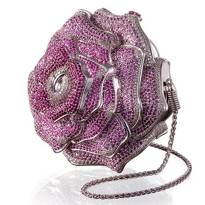 #5 World's Most Expensive Handbag. Leiber Precious Rose. Bags named 'The Precious Rose' is indeed very valuable. Made in the form of roses, the bag is decorated with 1016 diamonds total 42.56 carats, 1169 pink sapphires and 800 tourmalines crystal. This bag is given a price of US$ 92 thousand.  +