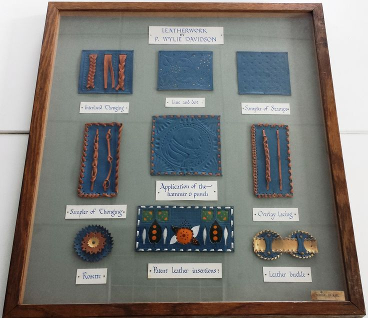 This display case explains the different effects that can be achieved with decorative leatherwork. It is one of two cases that has a known author, P. Wylie Davidson. He was a tutor at the GSA from 1897 to 1935, teaching a variety of classes including metalwork, bookbinding, woodcarving, enamels, and leatherwork. Archive reference: NMC/1627