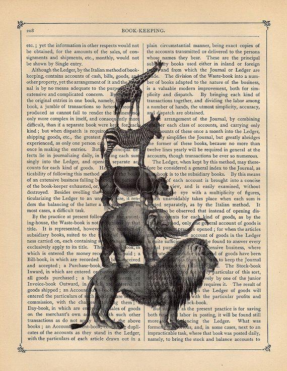 Animal print: Animal Print Literally, Jungle Prints, Books Worth, Art Prints, Illustration, Newsprint Bookpage, Animal Prints, Creative Book, Safari Animals