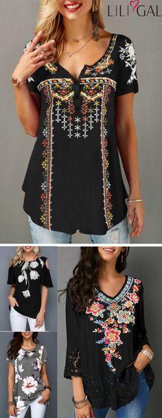 graziosi top estivi primaverili, top carini, t-shirt con stampa floreale retrò, camicetta casual …