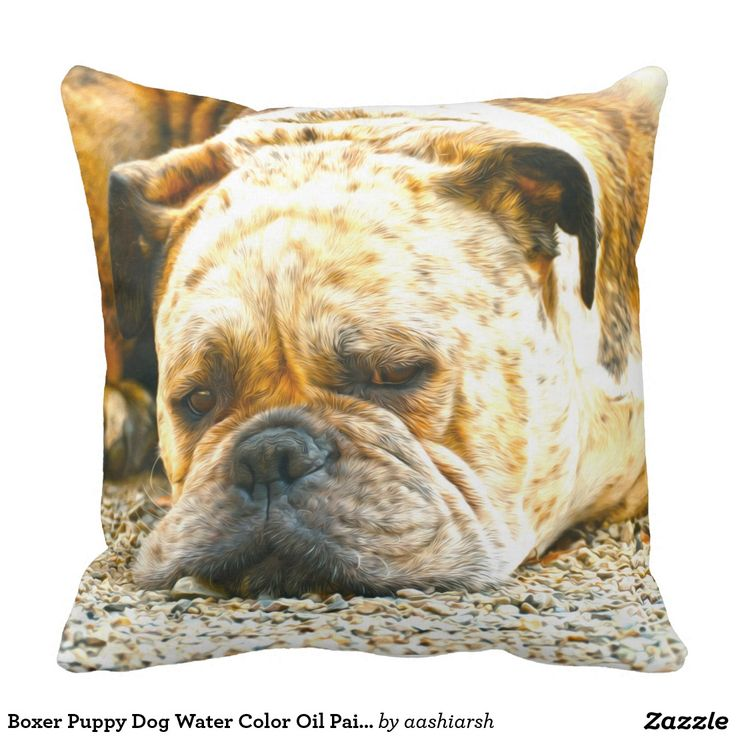 #Boxer Puppy #Dog Water Color #OilPaint #Art Throw #Pillow #animal #pet #canine #doglovers #animallovers