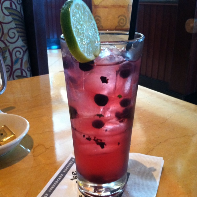 Cheesecake Factory's Blueberry Mojito -   Stoli Blueberry Vodka, Mint, Fresh Blueberries, and Lime.