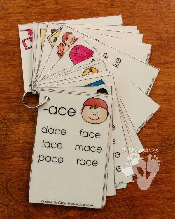 Free CVCe Word Family Wall Cards: -ace, -age, -ake, -ale, -ame, -ane, -ape, -ase, -ate, -ave, -ice, -ide, -ife, -ike, -ile, -ime, -ine, -ipe, -ise, -ite, -obe, -ode, -oke, -ole, -ome, -one, -ope, -ose, -ote, -ube, -ude, -ule, -une - - 3Dinosaurs.com