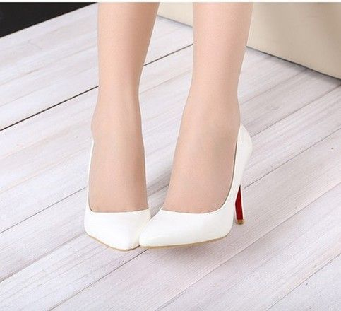 White Thin Heel Pointed Women\u0026#39;s Pumps High Heels Red Bottom ...