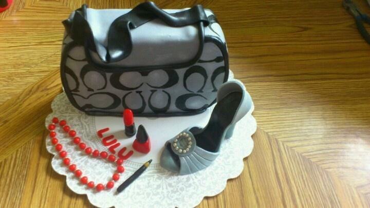 Coach purse and shoe cake