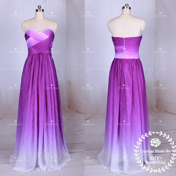 Ombre purple chiffon prom dresses strapless ombre chiffon for Purple ombre wedding dress